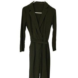 Army Green Long Sleeve Surplice Jumpsuit Size L